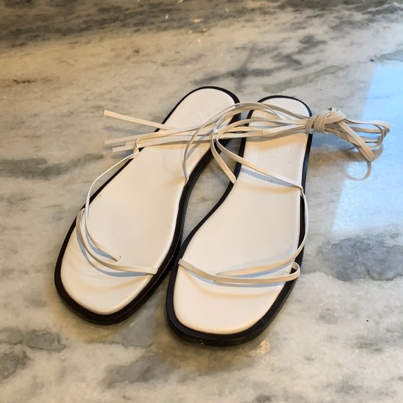 Zara flat ankle wrap sandals